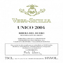 Vega Sicilia Unico 2004 Ribera del Duero DO 75cl